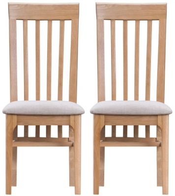 Appleby Oak Fabric Seat Dining Chair (Pair)