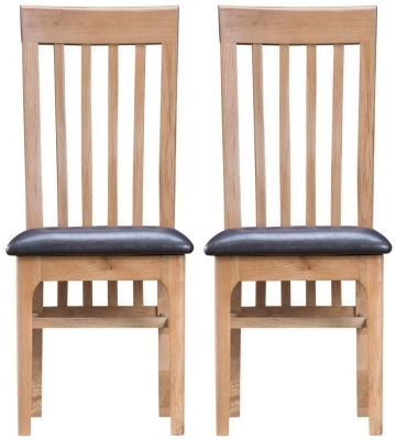 Appleby Oak Faux Leather Seat Dining Chair (Pair)