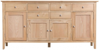 Appleby Oak 4 Door 6 Drawer Sideboard