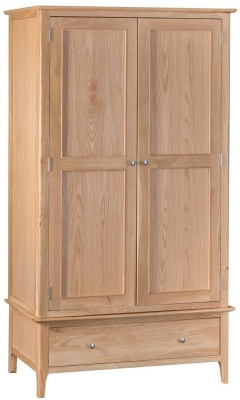 Appleby Oak 2 Door 1 Drawer Wardrobe