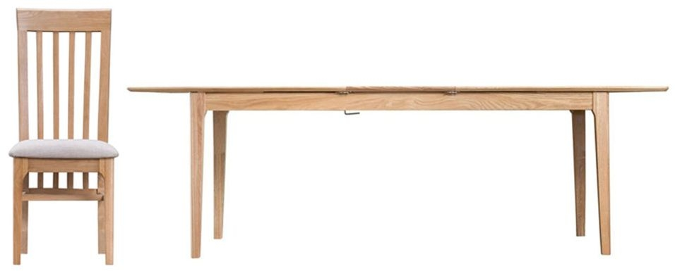 Appleby Oak Large Rectangular Butterfly Extending Dining Table and 4 Fabric Seat Chairs