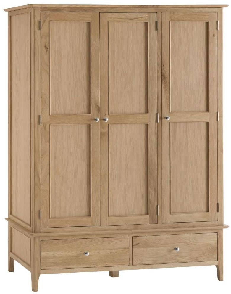 Appleby Oak 3 Door 2 Drawer Wardrobe