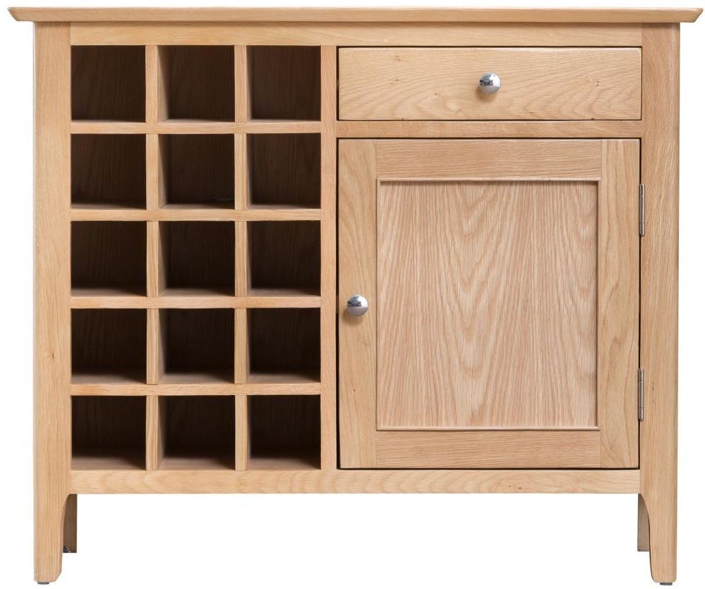 Appleby Oak 1 Door 1 Drawer Wine Cabinet