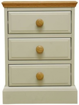 Arlington Oak and Stone Painted 3 Drawer Large Bedside Cabinet