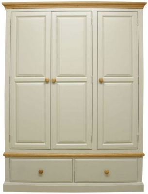 Arlington Oak and Stone Painted 3 Door 2 Drawer Wardrobe