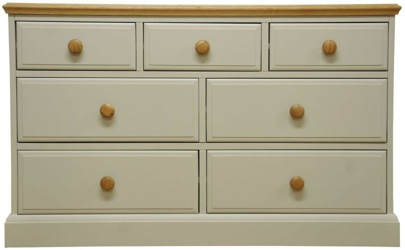 Arlington 3+4 Drawer Chest - Oak and Stone Painted