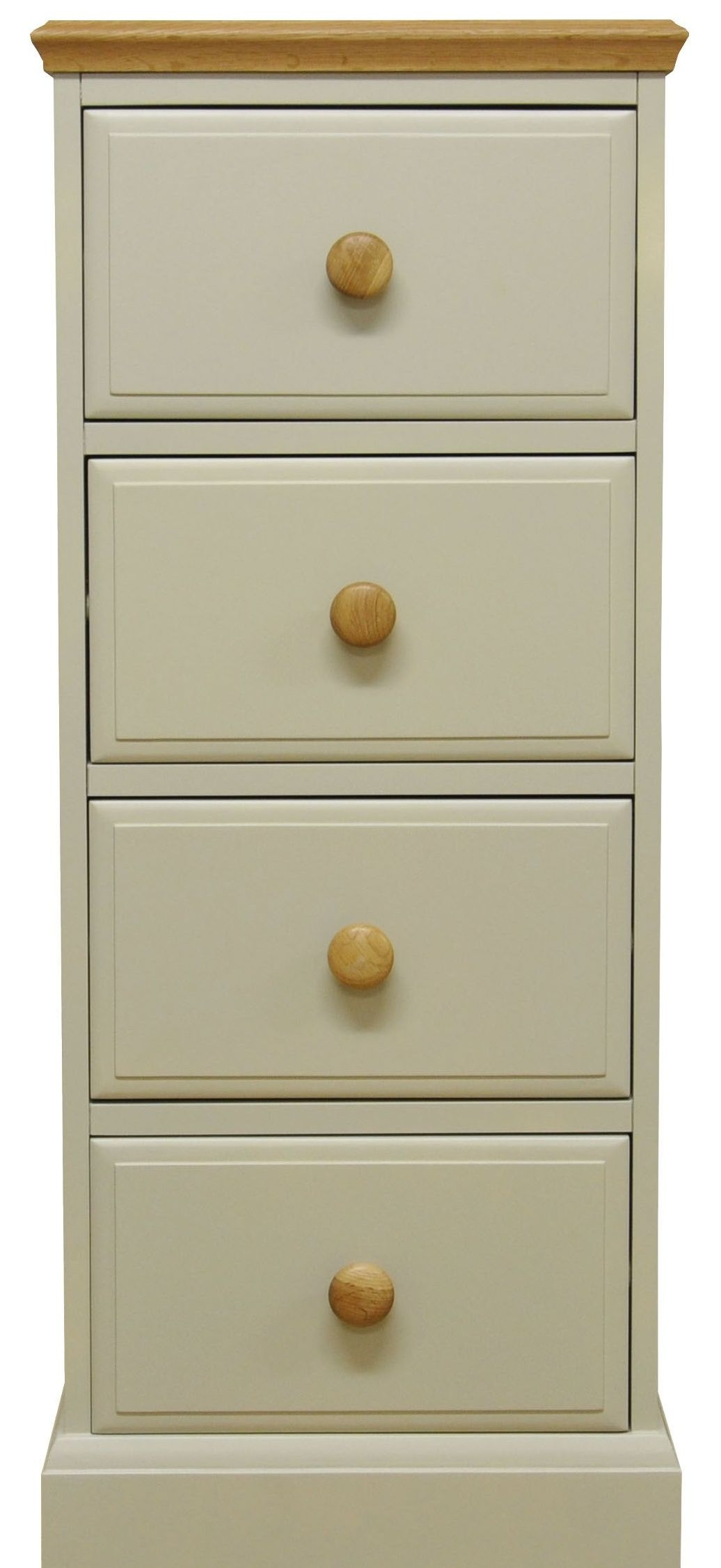 Arlington 4 Drawer Tall Chest - Oak and Stone Painted
