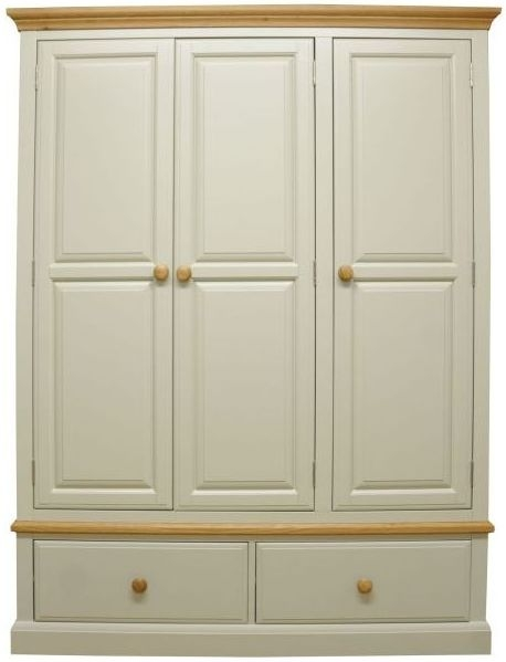 Arlington 3 Door 2 Drawer Wardrobe - Oak and Stone Painted