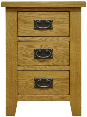 Buxton Waxed Oak Bedside Cabinet - Large 3 Drawer