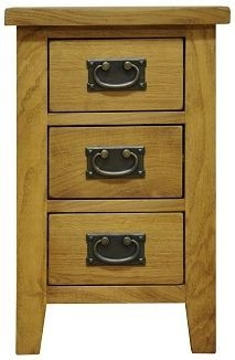 Buxton Waxed Oak Bedside Cabinet - Small 3 Drawer