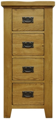 Buxton Waxed Oak Chest of Drawer - 4 Drawer Narrow