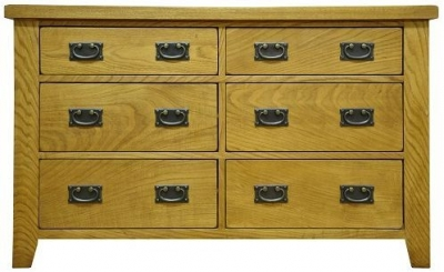 Buxton Waxed Oak Chest of Drawer - 6 Drawer
