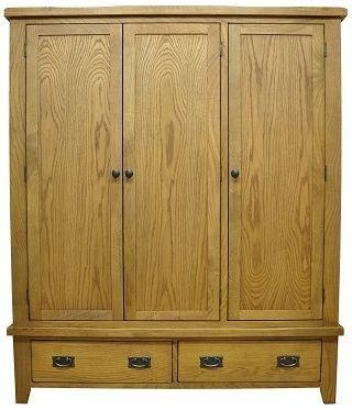 Buxton Waxed Oak Wardrobe - Triple