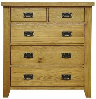 Buxton Waxed Oak 2 over 3 Drawer Chest
