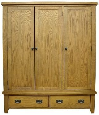Buxton Waxed Oak 3 Door Triple Wardrobe