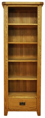 Buxton Oak Bookcase - Large Narrow with Drawer