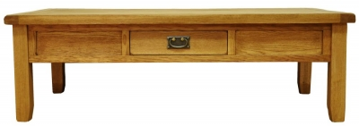 Buxton Waxed Oak Coffee Table - Large with Drawer