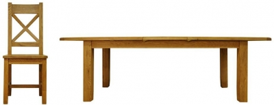 Buxton Oak Dining Set - Large Extending with Cross Back Wooden Seat Chairs