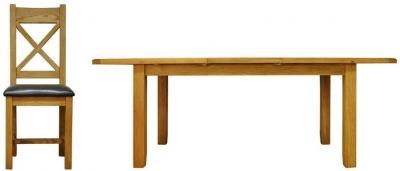 Buxton Waxed Oak Dining Set - Medium Extending with Cross Back PU Seat Chairs