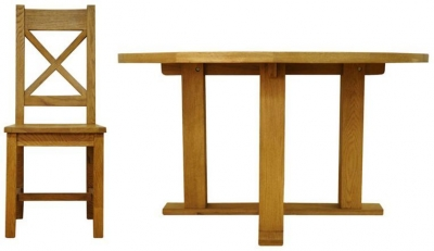 Buxton Oak Dining Set - Round with Cross Back Wooden Seat Chairs