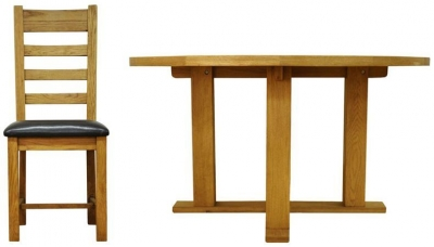 Buxton Waxed Oak Dining Set - Round with Ladder Back PU Seat Chairs