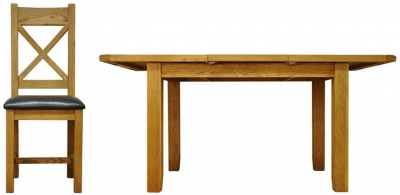 Buxton Waxed Oak Dining Set - Small Butterfly Extending with Cross Back PU Seat Chairs