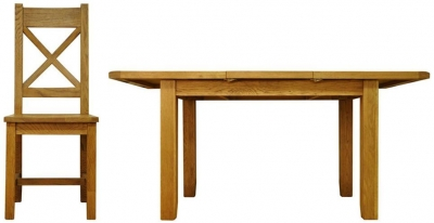 Buxton Oak Dining Set - Small Butterfly Extending with Cross Back Wooden Seat Chairs