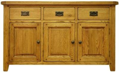 Buxton Waxed Oak Sideboard - 3 Door 3 Drawer