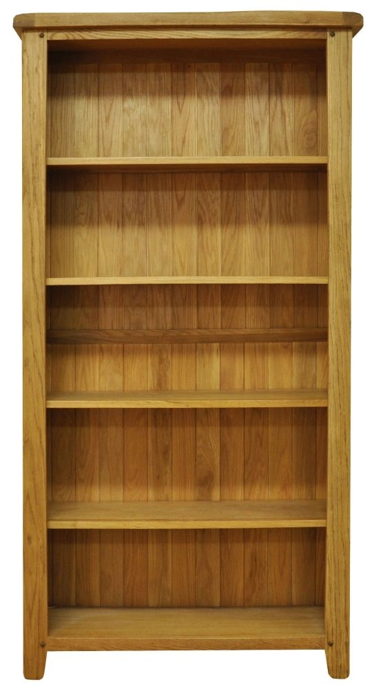 Buxton Waxed Oak Large Wide Bookcase