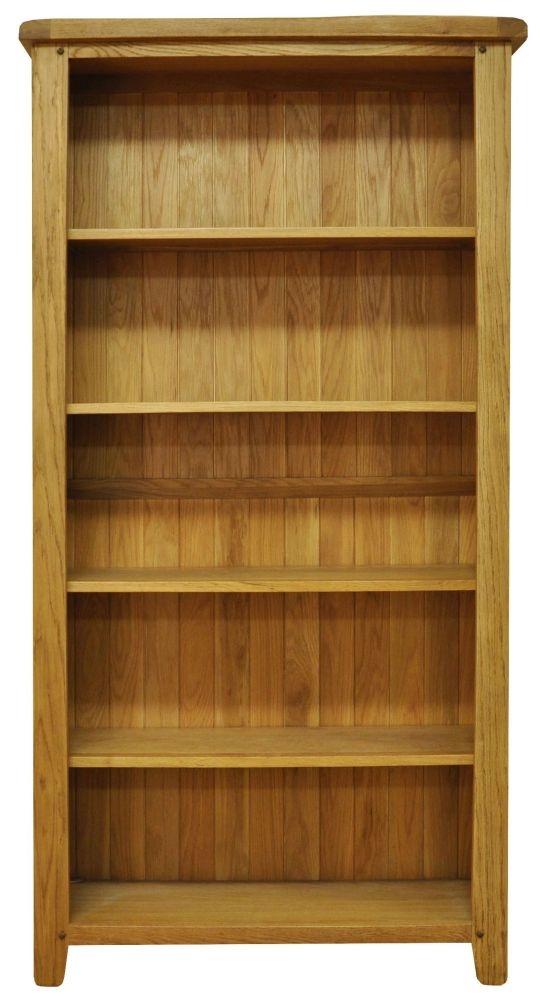 Buxton Waxed Oak Bookcase - Large Wide