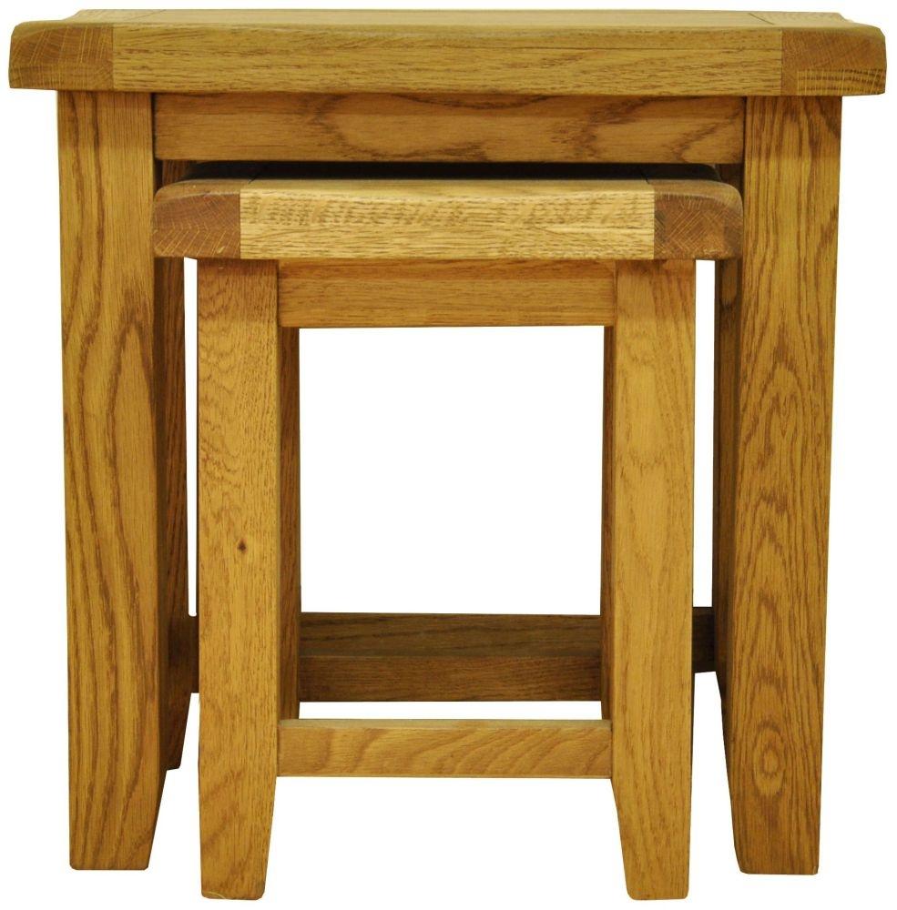 Buxton Waxed Oak Nest of 2 Tables