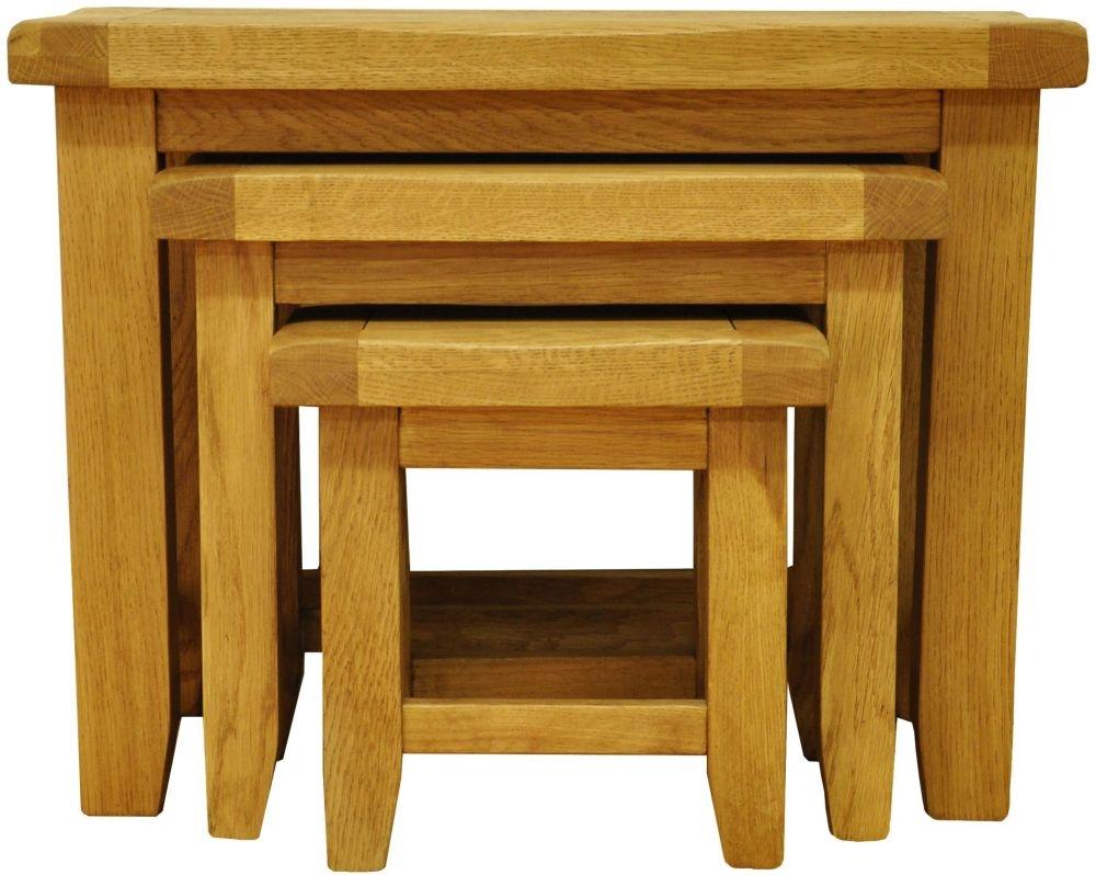 Buxton Waxed Oak Nest of 3 Tables