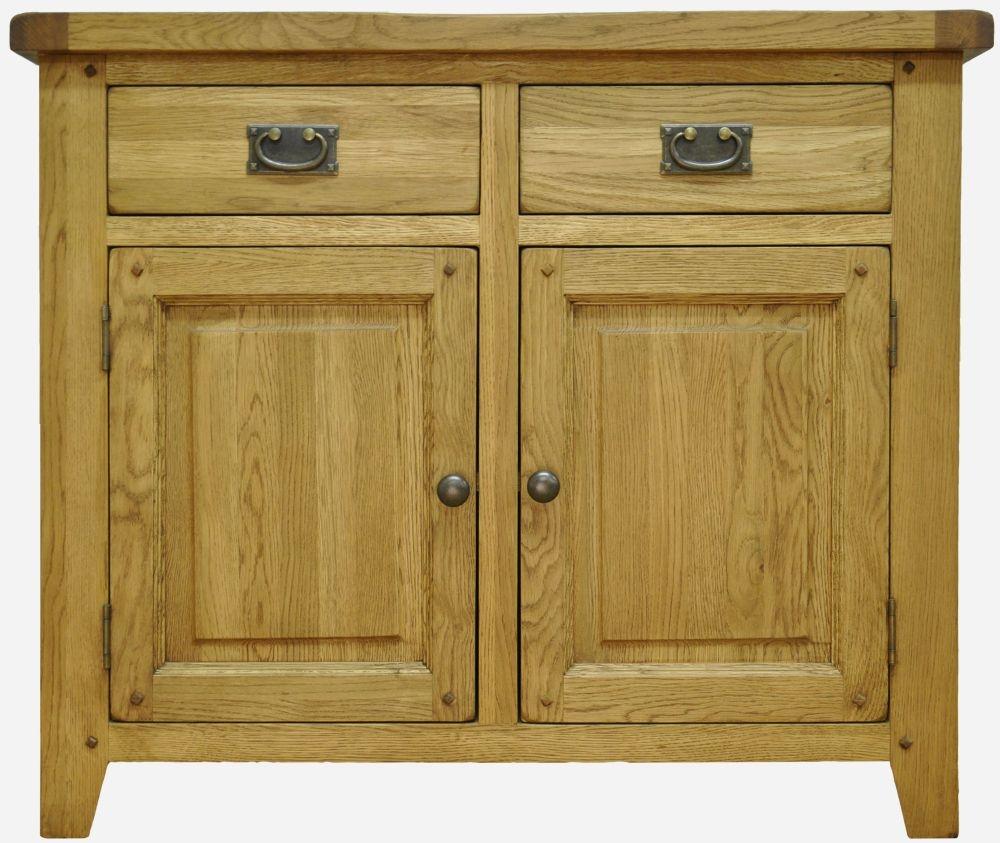 Buxton Waxed Oak 2 Door 2 Drawer Narrow Sideboard