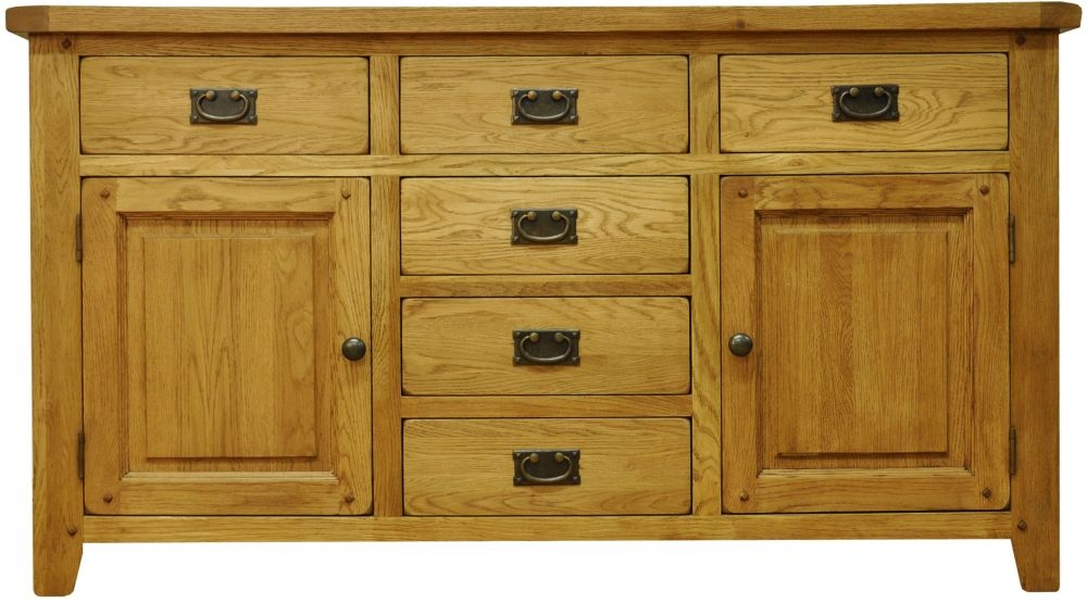 Buxton Waxed Oak 2 Door 6 Drawer Wide Sideboard