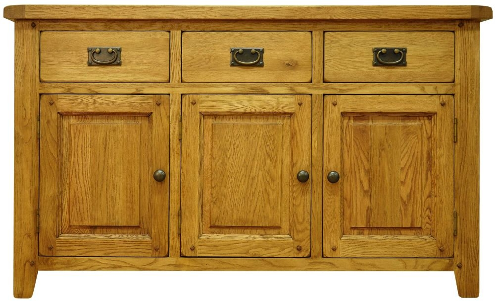 Buxton Waxed Oak 3 Door 3 Drawer Wide Sideboard