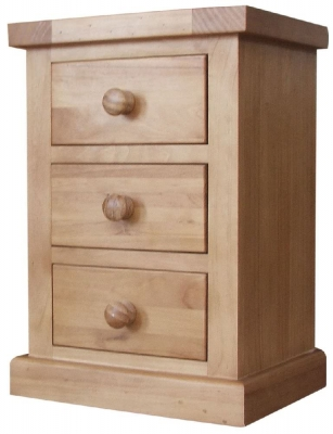 Cairo Pine Bedside Cabinet - 3 Drawer Small