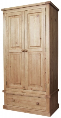Cairo Wax Finished Chunky Solid Pine Wardrobe - 2 Door 1 Drawer