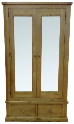 Cairo Wax Finished Chunky Solid Pine Wardrobe - 2 Door Large Mirrored