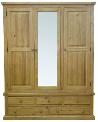 Cairo Wax Finished Chunky Solid Pine Wardrobe - 3 Door Large Mirrored