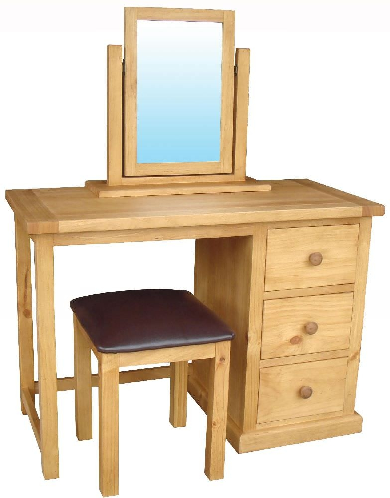 Cairo Pine Dressing Set with Faux Leather Stool and Mirror