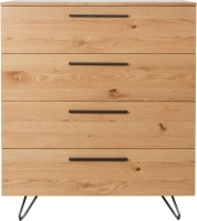 Calgary Rustic Oak and Metal 4 Drawer Chest