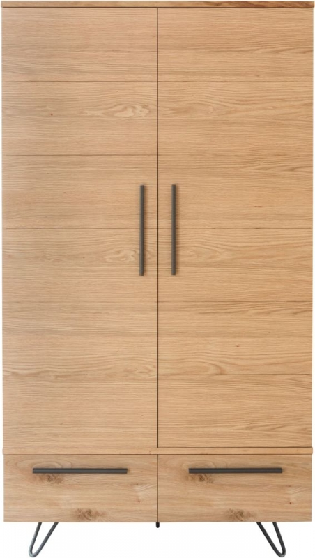 Calgary Rustic Oak and Metal 2 Door 2 Drawer Wardrobe