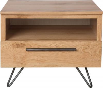 Calgary Rustic Oak and Metal 1 Drawer Lamp Table