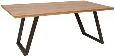 Calgary 140cm Rustic Oak and Metal Dining Table