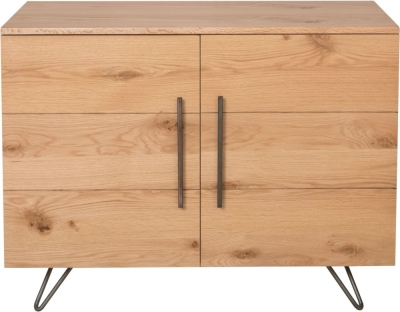 Calgary Rustic Oak and Metal 2 Door Sideboard