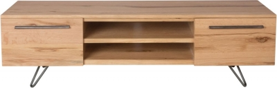 Calgary Rustic Oak and Metal 2 Door TV Cabinet