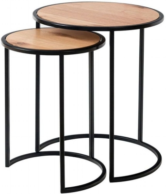 Calgary Rustic Oak and Metal Round Nest of 2 Tables