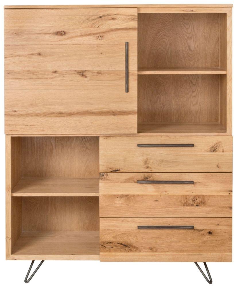 Calgary Oak and Metal 1 Door 3 Drawer Large Bookcase