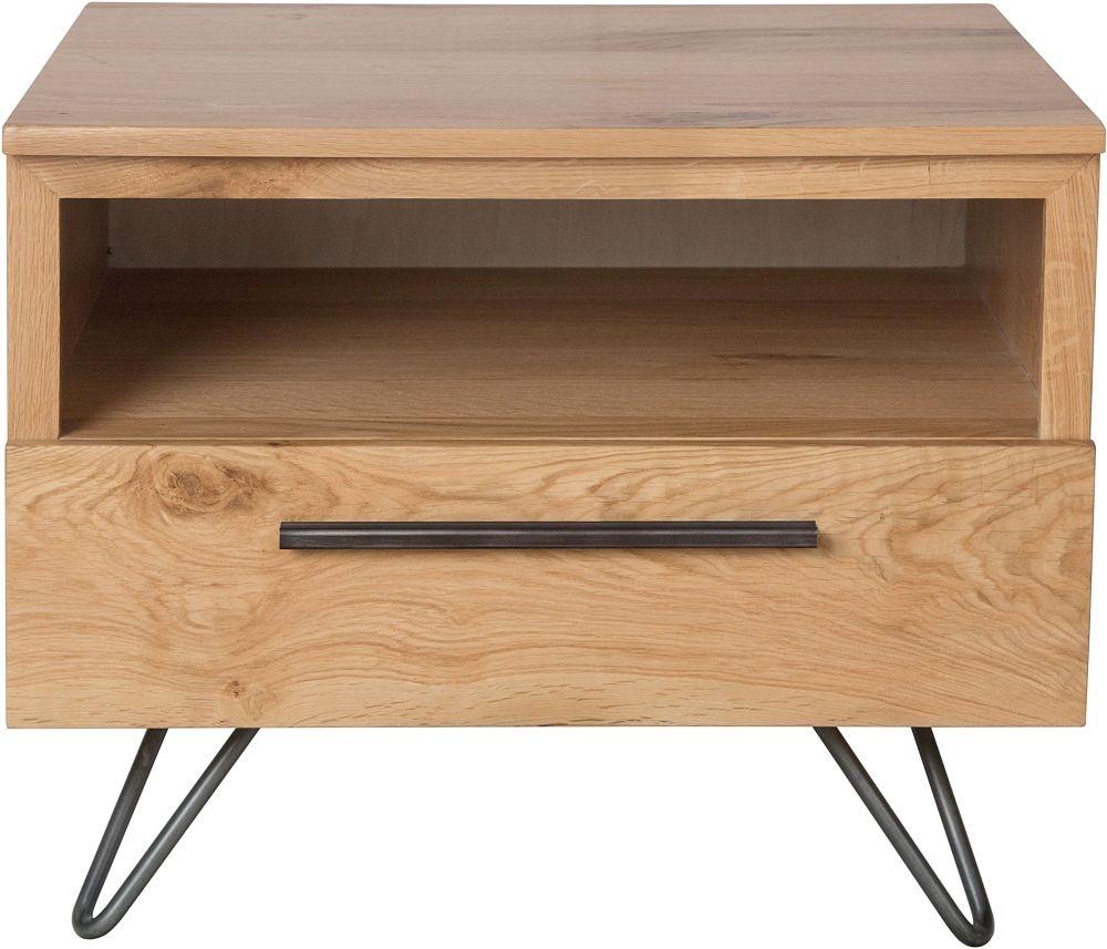 Calgary Oak and Metal 1 Drawer Lamp Table