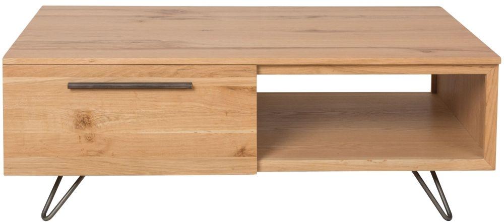 Calgary Oak and Metal 2 Drawer Coffee Table